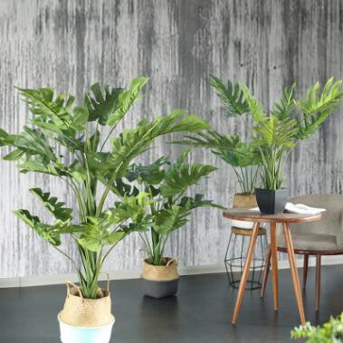 七茉 仿真植物盆栽大型树北欧假绿植龟背竹佛手叶办公室店内装饰