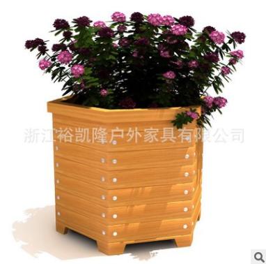 道路木质花坛 防腐木栅栏 木条围栏花箱 规格可定制