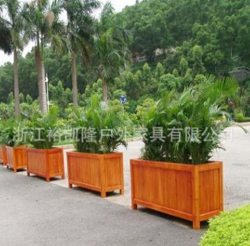 长方形防腐木花箱 绿化隔离花坛 规格可定制 厂家直销