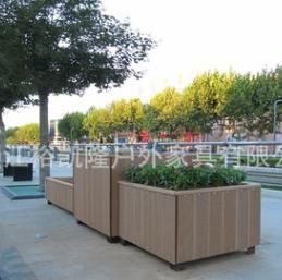 一体式高低组合花箱 商场广场公园花坛木塑花箱 可定制防腐木