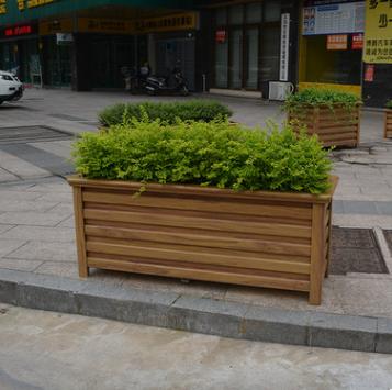 厂家定制木纹铝合金花箱道路组合户外隔离花盆防腐绿化工程花箱
