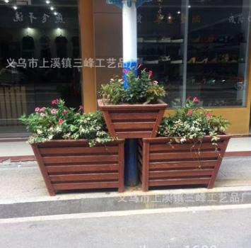 批发各种样式花盆 户外防腐木花箱 定做移动树池 防腐木花箱 花槽