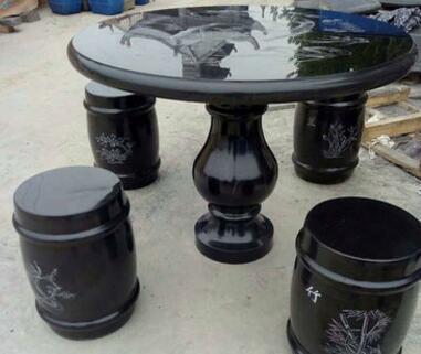石桌石凳庭院园林户外石桌子天然大理石桌凳一套仿古石雕圆桌现货