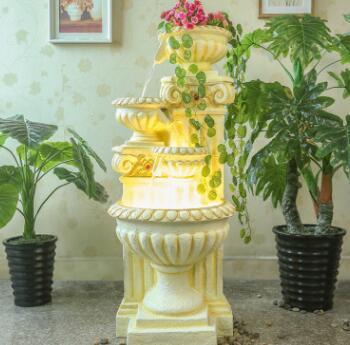 欧式喷泉流水创意家居饰品鱼缸风水轮加湿器招财树脂客厅落地摆件