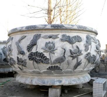石缸鱼缸雕刻青石仿古鱼缸花盆石雕室外庭院鱼缸流水摆件厂家直销