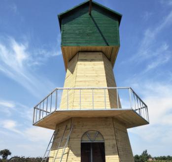 防腐木电动风车厂家定制 大型户外不锈钢风车 荷兰风车 景观风车