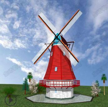厂家直销大型户外景观防腐木制风车落地摆件花海木屋园林田园风车