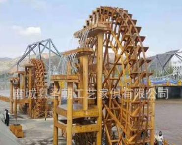 厂家直销防腐木水车风水轮 户外景观水车风车 实木水景水车现货