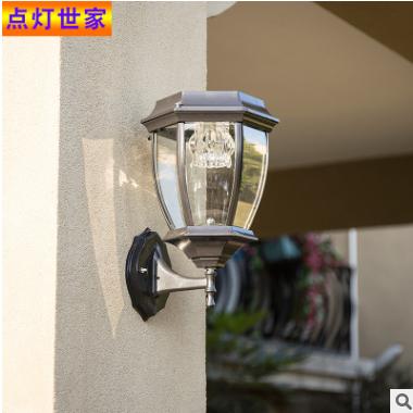 亚马逊爆款LED太阳能灯壁灯柱头灯户外防水庭院农村路灯壁灯具