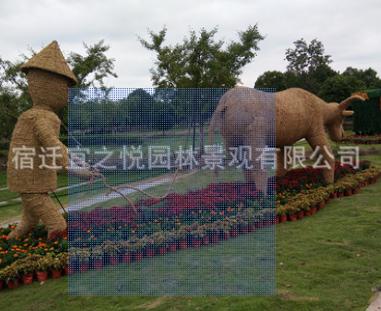 稻草人艺术品批发干稻草编制 来图定制公园户外稻草人植物工艺品