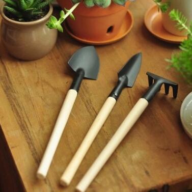 迷你园艺三件套 花园小铁铲 铁锹 挖土工具 园艺种花工具套装用品