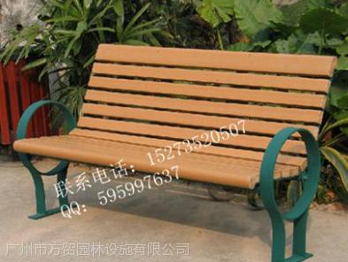 湖南郴州供应方贸园林F-201钢木公园金属长椅,广场休闲椅低价批发