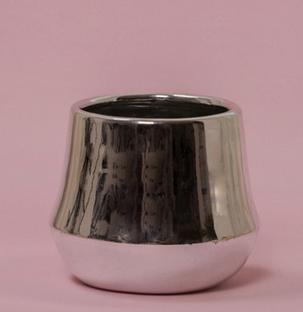 手工陶瓷小号精致花盆电镀系列亮光金色圆肚北欧几何简约现代花器