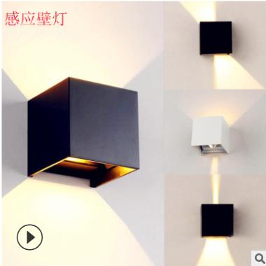 led壁灯人体感应壁灯室外方形上下发光双头阳台灯现代简约铝批发