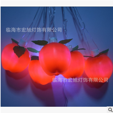 LED水果灯串 苹果装饰灯 防水LED流星雨灯亮化造型灯五角星装饰灯