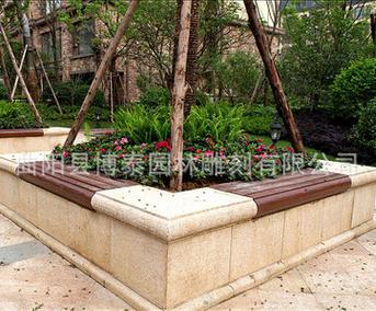 广场小区长方形圆形树池板材青石斧剁石树坑石雕树池花池坐凳石凳