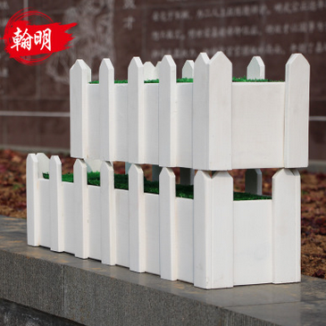 白色实木花箱户外室内阳台种植防腐木花箱仿真竹子免安装专用花箱