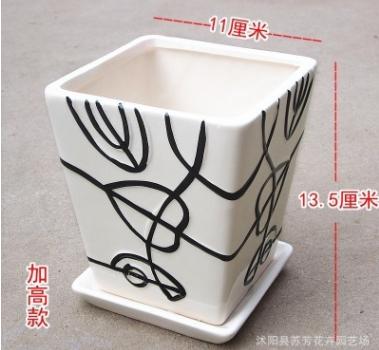 批发花盆陶瓷单层素雅心型方形精品创意室内花卉绿植陶瓷盆多色