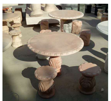 现货石桌石凳 园林户外石头桌子 天然晚霞红石圆桌一套 厂家直销