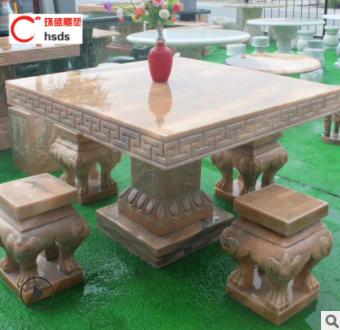 定做石桌石凳 晚霞红大理石庭院园林摆件 户外室外仿古石桌石凳