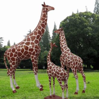 厂家直销户外玻璃钢雕塑仿真动物长颈鹿摆件 花园林景观大型摆件