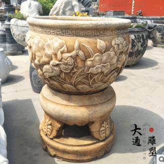 石雕汉白玉仿古鱼缸精雕圆缸养鱼缸中式园林花园庭院鱼缸水缸