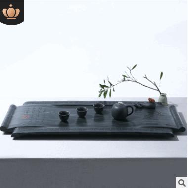 2018新款天然大号乌金石茶盘 石头茶台茶盘厂家直销手工雕刻 茶具