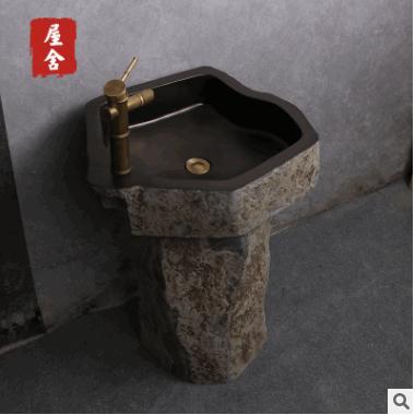 整套乌金石立柱盆天然石洗面盆户外庭院洗脸盆阳台艺术复古洗手盆