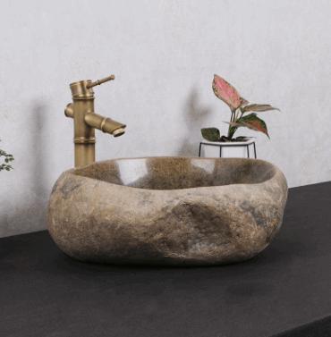 天然石头洗手盆花园复古台上盆庭院圆形鹅卵石艺术盆卫生间洗脸盆