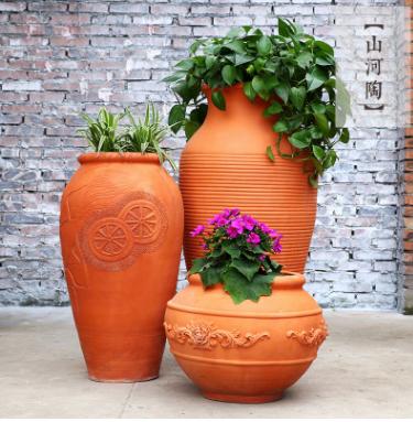 四川花盆 欧式红陶花钵 厂家定制 多肉花盆 园林景观陶罐