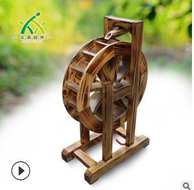 防腐木水车 花园水车 碳化木电动水车 定制 户外 景观