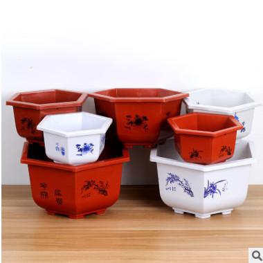 批发加厚大号复古六角塑料花盆牢固耐用家庭绿植园艺花盆厂家直销