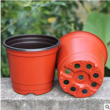厂家批发加厚软塑料红色盆育苗盆 双色花盆 植物育苗盆PP塑料花盆