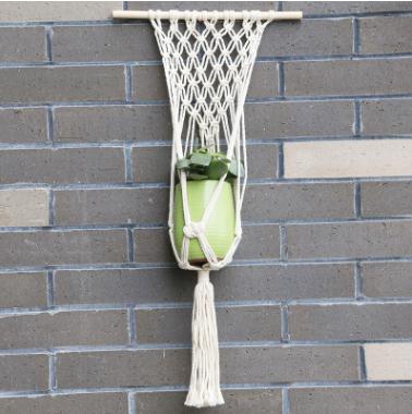 园艺绿化花盆 棉绳吊网 花盆吊篮网兜 厂家制作 悬挂吊篮手工编织