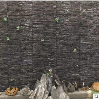 天然青石板砖石板岩文化石流水板背景墙面水幕墙外墙文化石组合板