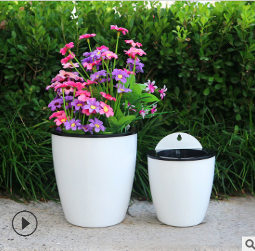 室内外挂壁式花盆懒人自吸水环保树脂塑料盆可水培绿萝植物墙批发