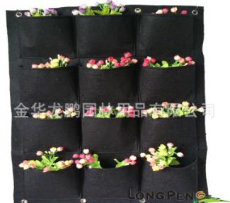 12个口袋毛毡布种植袋,花园种植挂袋.美植袋