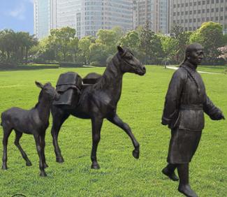 玻璃钢仿铜茶马古道民俗买货古代人物雕塑公园广场小品摆件定制