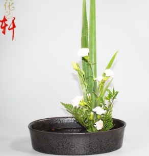 椭圆型花盆 陶瓷复古花器 中华传统花艺 小原流插花教学材料批发