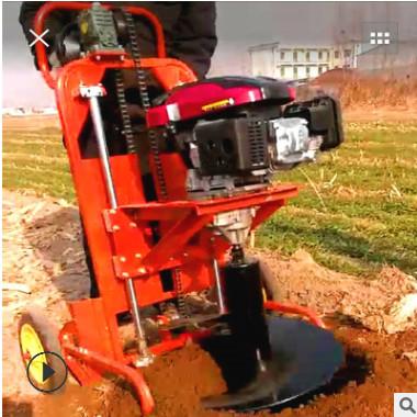 多功能农用手推链条框架式挖坑机轻便手摇植树挖坑机手提式挖坑机