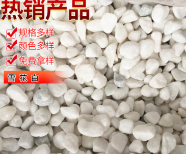 机制纯白色鹅卵石天然雪花白盆栽水池垫底石子透水路面铺路雨花石