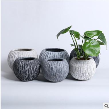 K03北欧创意圆形水泥花盆室内装饰绿萝盆白掌多肉盆球形水培批发