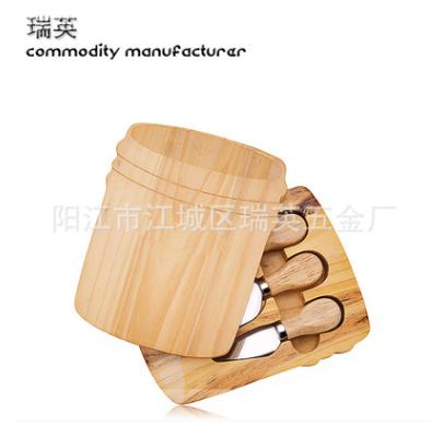 木柄不锈钢芝士刀四件套套装 配出口创意 不规则芝士木盒 橡胶木