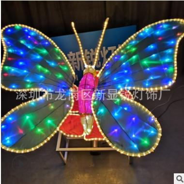 LED呼吸灯动态蝴蝶造型灯 广场公园LED蝴蝶花造型灯亮化造型灯