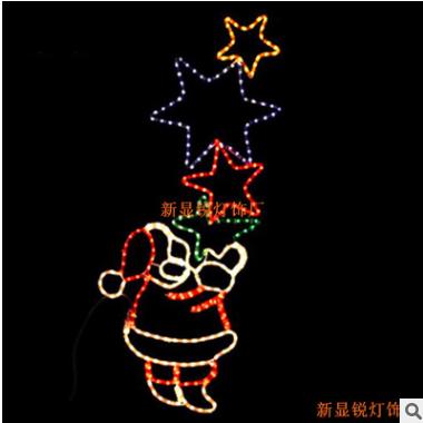 专研圣诞美陈布置 led灯光铁艺圣诞老人造型 灯光铁艺制作 定制
