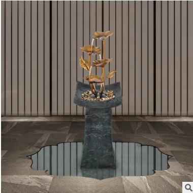 Q-glory流水摆件客厅落地大型铁艺装饰品家居办公室乔迁开业礼物