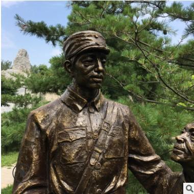 玻璃钢红色军人物雕塑军民鱼水情景观广场雕塑八路军文化革命主题