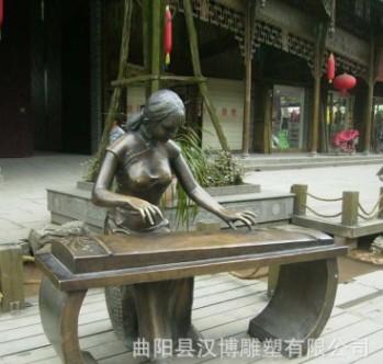 创意大型弹古筝人物雕塑户外园林景观雕塑民俗民风小品文化人物