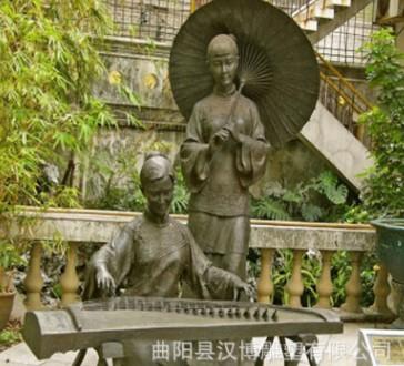 玻璃钢铸铜弹古筝人物雕塑音乐雕塑户外园林景观雕塑音乐主题雕塑