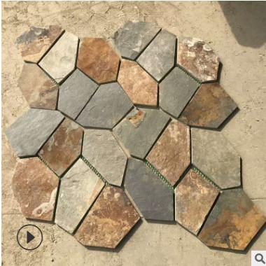 厂家直销 河北锈色网贴 板岩冰裂纹碎拼 庭院石板 可定制规格